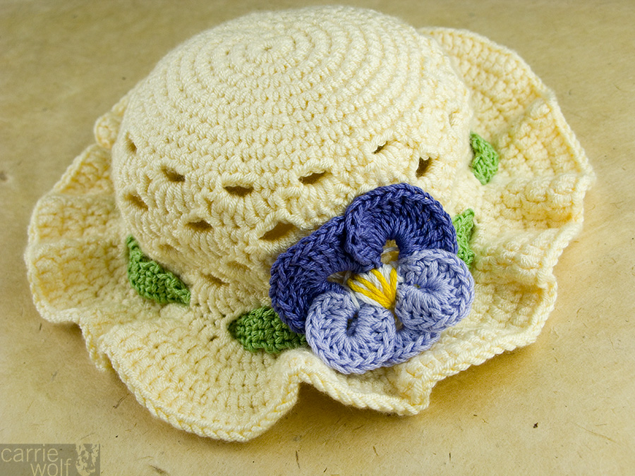 Crochet Pansy Easter Bonnet carriewolf.net