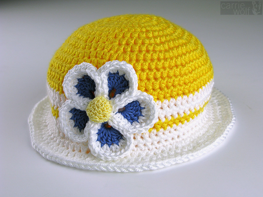 yellow crochet toddler hat with daisy - SOLD!!!!