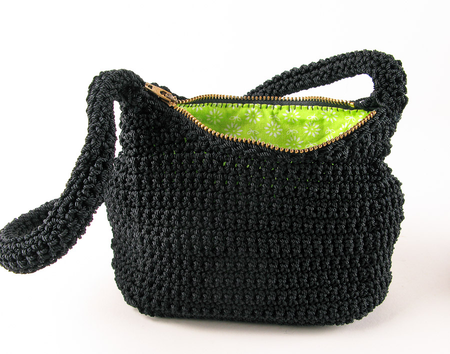Purse : New Black Nylon Crochet Purse with Lime Green Lining carriewolf.net