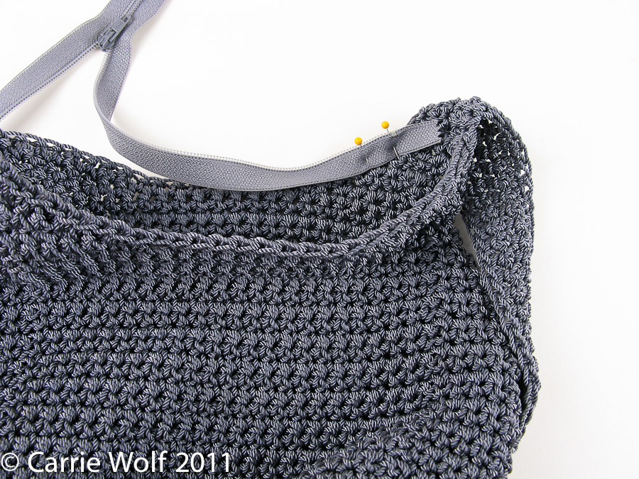 How To Crochet A Purse : How to insert a zipper and lining into a crochet purse tutorial