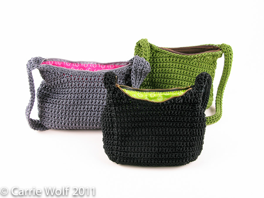 Crochet Purses And Bags Tutorials : How to insert a zipper and lining into a crochet purse tutorial