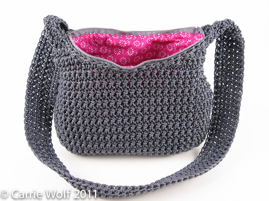 Crochet Handbag Pattern : ... to insert a zipper and line a crochet purse tutorial carriewolf.net