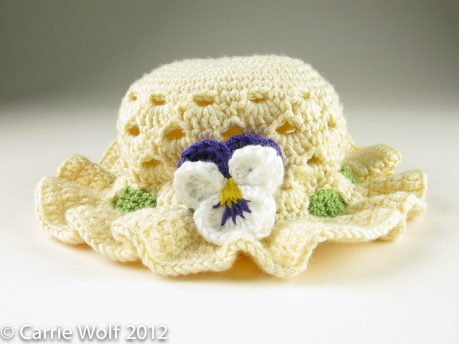 Crochet Baby Easter Hat Patterns : Crochet Pansy Easter Bonnet carriewolf.net