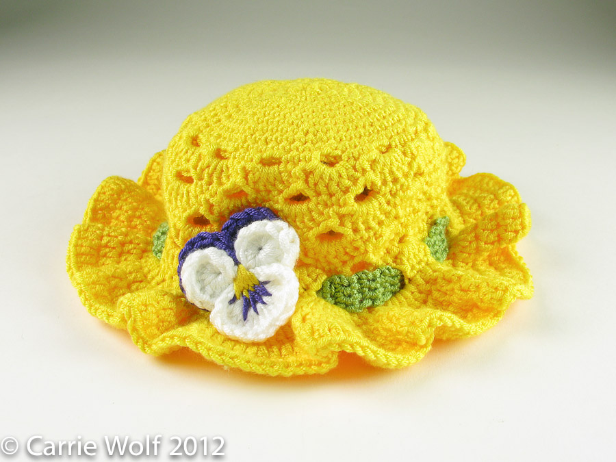 Crochet Baby Easter Hat Patterns : Toddler Easter Crochet Bonnet with Pansy carriewolf.net