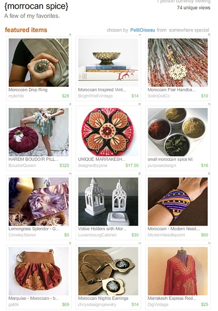 Etsy Treasury front page