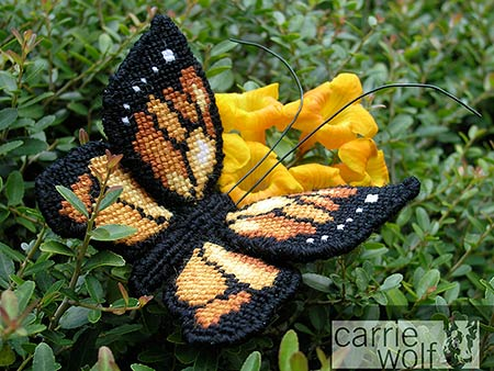 Carrie Wolf Needlepoint, Monarch Butterfly Design