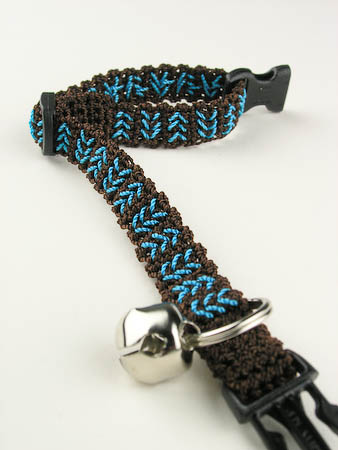 Chocolate Turquoise Chevron Crochet Cat Collar