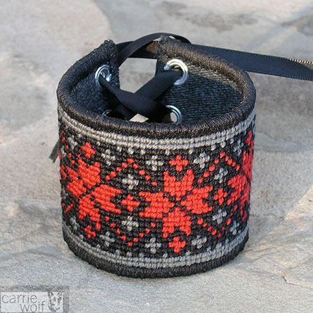 Carrie Wolf Needlepoint, Steampunk Needlepoint Cuff Bracelet