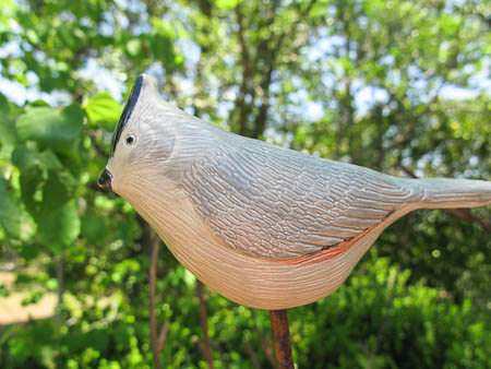 Black Crested Titmouse Pottery Bird Art Sculpture