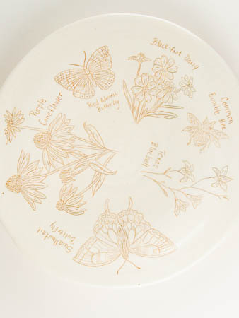 Central Texas Flora and Fauna Pottery Art Plate