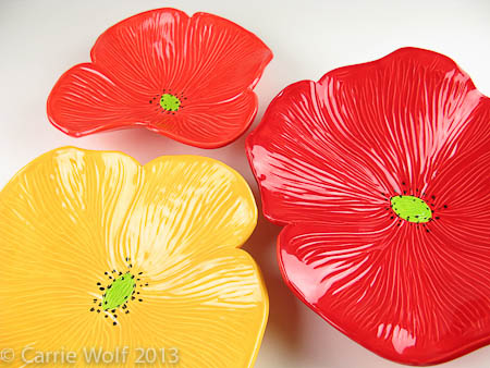 Wolf Art Glass Ceramic Poppy Wall Art Collection
