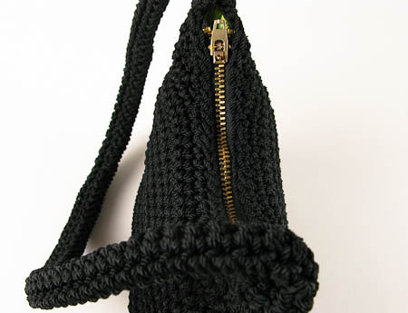 New Black Nylon Crochet Purse with Lime Green Lining