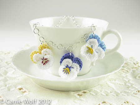 Carrie Wolf - Crochet Pansy Bride Bridesmaid necklace