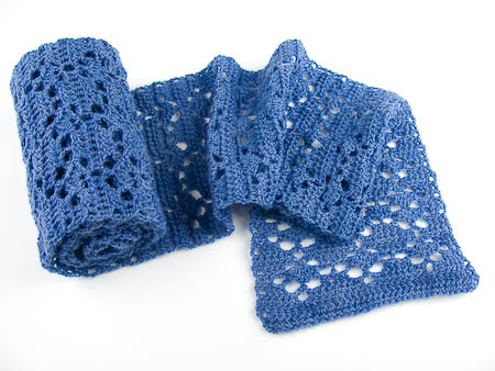 blue merino wool crochet scarf