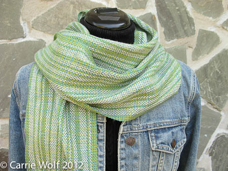 Carrie Wolf - Rigid Heddle Weaving Pattern - Silver Birch Trees in Spring Scarf