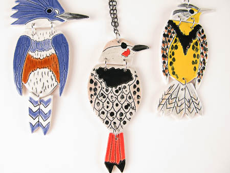 Pottery Bird Art Pendants