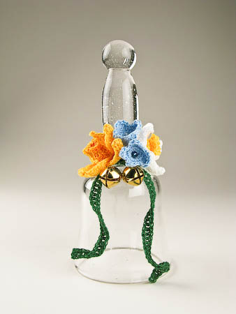 Handblown Glass Bell Spring Crochet Posy