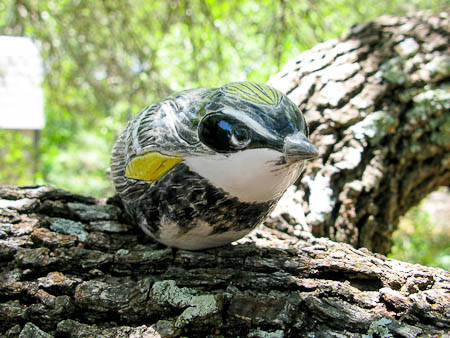 Yellow Rumped Warbler Pottery Art Bird Sculpture