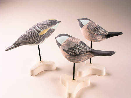 Pottery Song Bird Yellow Rumped Warbler and Black Capped Chickadees - glazed but not fired