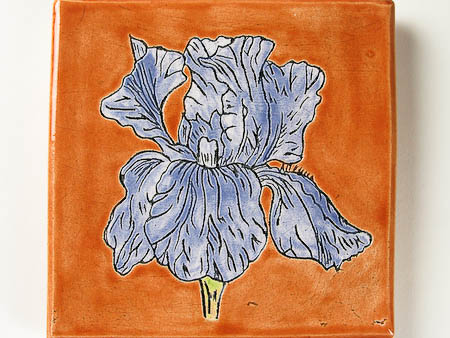Pottery Bearded Iris Tile