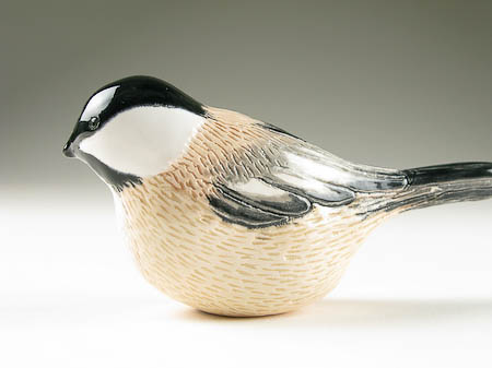 Pottery Song Bird Black Capped Chickadee