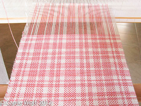 Carrie Wolf - Rigid Heddle Weaving Pattern - Coral Pink and White Plaid Scarf