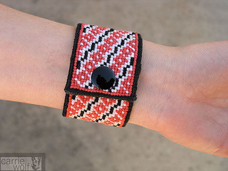Carrie Wolf Needlepoint, Poppy Needlepoint Cuff Bracelet