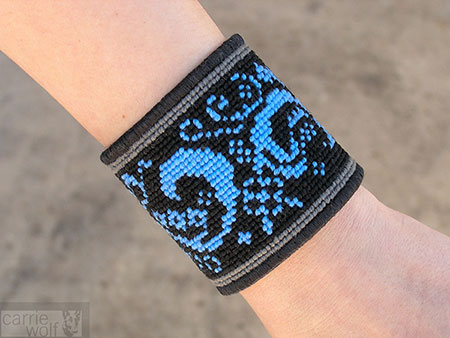 Carrie Wolf Needlepoint, Blue Paisley Needlepoint Cuff Bracelet