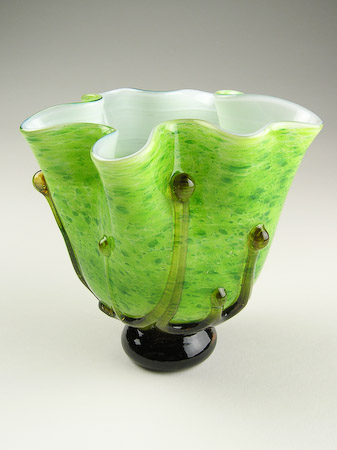 Spring Green Blown Glass Art Flower Vase
