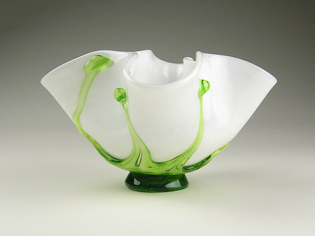 White Blown Glass Art Flower Vase