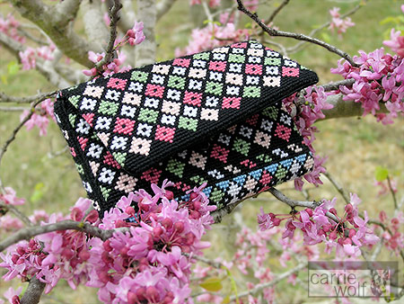 Carrie Wolf Needlepoint Purse, Pink Cotton Candy