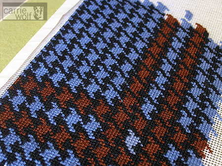 carrie wolf needlepoint ~ houndstooth knot